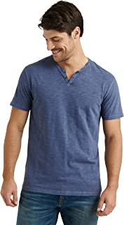 Men's Short Sleeve Notch Neck Slub Tee Shirt