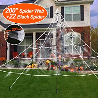 【Hook & Stakes Include】 200'' Halloween Spider Web + 22 Black Spider + 200sqft Stretch Cobweb for Halloween Decorations Clearance Outdoor Indoor Yard Scary Decor
