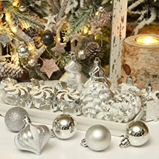 Decent Glass Ornaments with Matching Swirl Hooks Mercury Glass Christmas Tree Ornament 6cm Small (Silver, 12)