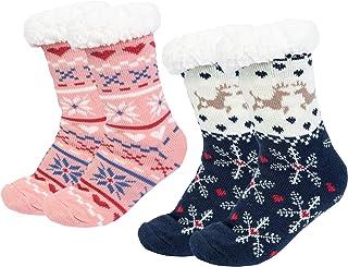 Chalier, 2 pares Calcetines Antideslizantes Invierno, Calcetines Mujer Divertidos Animal, Calcetines Térmicos Navideños Copo de Nieve de Punto Lana