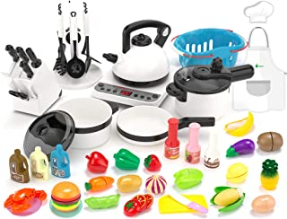 KIDPAR 52PCS Kitchen Play Toy,Kids Pretend Cooking Kit with Cookware Playset Steam Pressure Pot and Electronic Induction C...