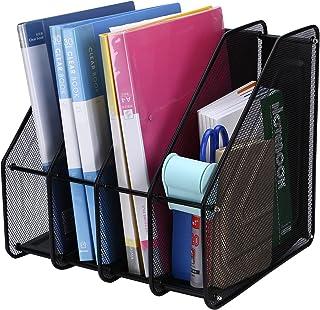 TOROTON 4 Compartiments Fichier Document Corbeille à Courrier File Organizer Rack Papier pour Rangement de Bureau Métalliq...