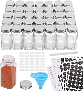 Aozita 36 Pcs Glass Spice Jars with 810 Spice Labels - 4oz Empty Square Spice Bottles - Shaker Lids and Airtight Metal Cap...