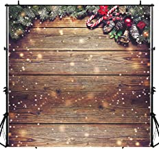 Allenjoy 10X10ft Polyester Snowflake Gold Glitter Christmas Wood Wall Photography Backdrop Xmas Rustic Barn Vintage Wooden Floor Background for Kids Portrait Photo Studio Booth Photographer Props