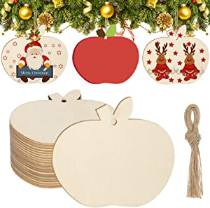 36 Pieces Christmas Wood DIY Craft Cutout Wooden Fruit Shaped Hanging Ornaments with Hole Hemp Ropes Gift Tags for Thanksgiving Wedding Birthday Christmas Party Decoration 3.5X3.1inch