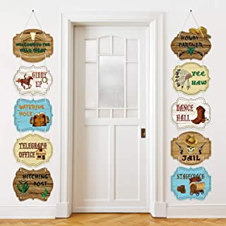Blulu Large Western Sign Cutouts Retro Style Wild West Party Supplies Door Sign Cowboy Theme Birthday Party Wall Decoration Signs 10 Counts with Ropes and Glue Points