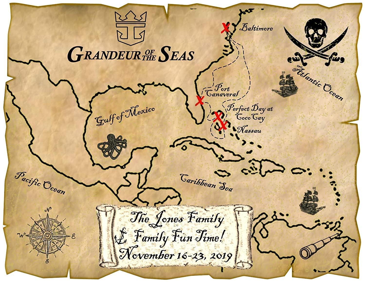 Amazon.com: Caribbean Pirate Map Magnet-all cruiselines : Handmade Products