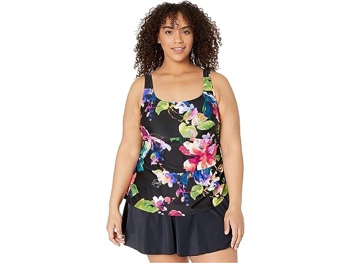 Maxine Of Hollywood Womens Plus Size V-Neck Swim Dress One Piece Swimsuit