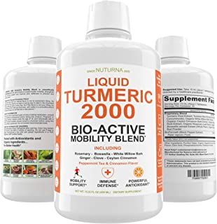 Turmeric 2000 Liquid with BioPerine Highest Potency Premium Joint & Healthy Inflammatory Support with Boswellia Serrata, W...