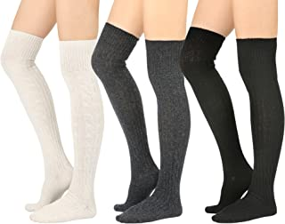 STYLEGAGA Women's Fall Winter Warm Over the Knee High Socks Knit Long Boot Socks Leg Warmer