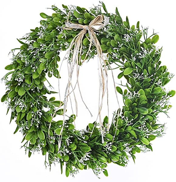 Landy 16 Artificial Green Leaf Wreath With Bow Spring Front Door Wreath For Front Door