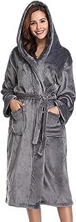 Vlazom Women's Plush Robe Soft Hooded Bathrobe Coral Fleece Warm Housecoat with Pockets