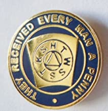 Mark Master Mason Blue Keystone Penny Freemasonry Masonic Enamel and Metal Pin Badge