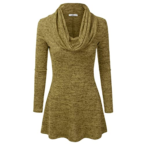 Doublju Marled Cowl Neck A-Line Tunic Sweater Dress Top for Women with Plus  Size d38de381e