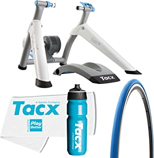 TacX Flow Smart Trainer Bundle with TacX/PlayBetter Premium 750ml Cycling Water Bottle, TacX Trainer Race Tire & Large Trainer Towel | Wheel-On Design | Indoor Cycling