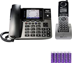 RCA U1000 Unison Wireless Deskphone - 4 Line Phone Systems for Small Business with Digital Receptionist Bundled with RCA U1200 Cordless Accessory Handset and 6 Blucoil AAA Batteries
