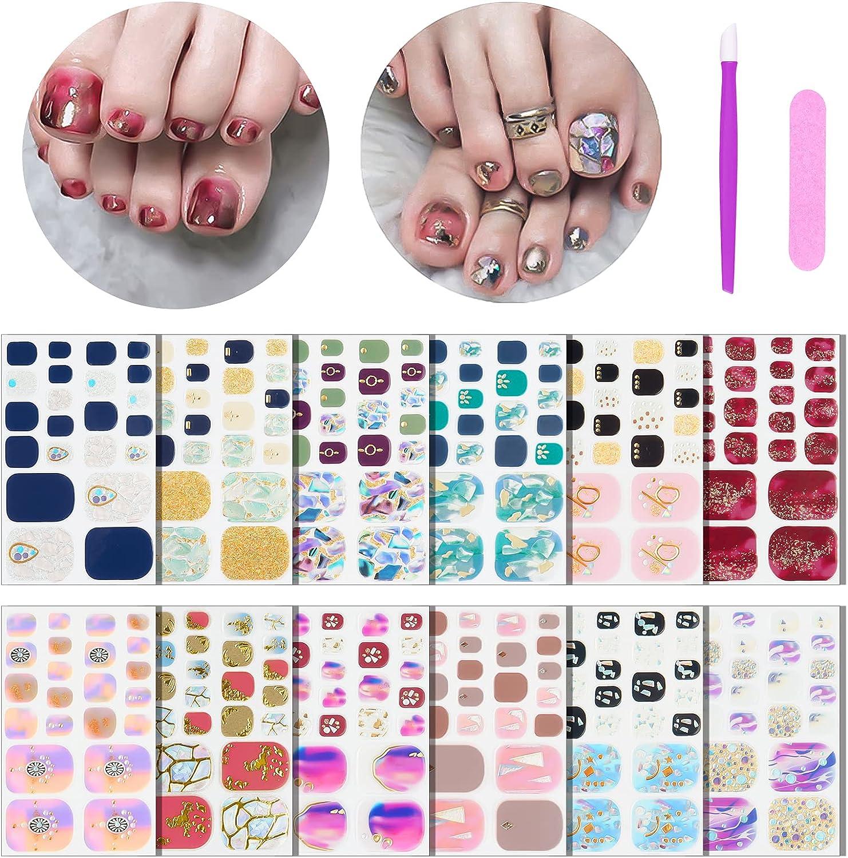 Bargain sale 264pcs Crystal Easy-to-use Full Nail Wraps Toenails Glitter for Polish