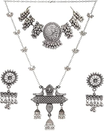 Jewellery Oxidised Silver Banjara Style Choker Necklace Set with Earring for Women Girls