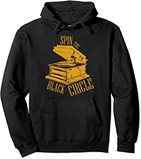 Spin the Black Circle Grunge pullover hoodie for vinyl fans