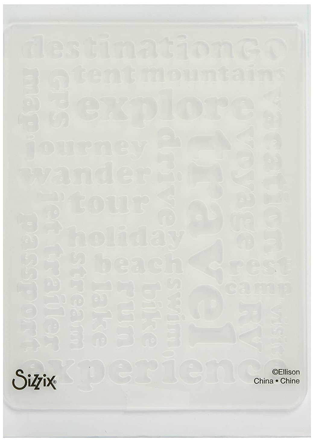 Sizzix Textured Impressions Embossing Folder Travel Words by Eileen Hull dfyzu287897