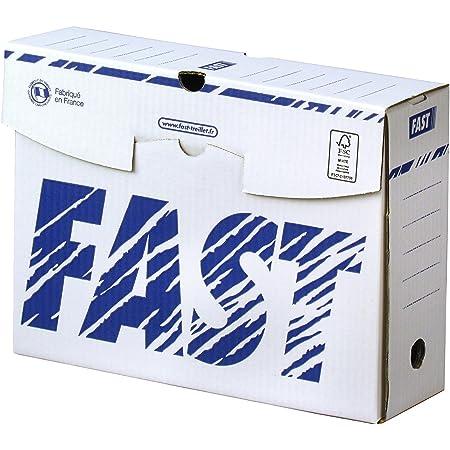 Fast Lot de 10 Boîtes archives manuelles 10 cm Blanc/Bleu