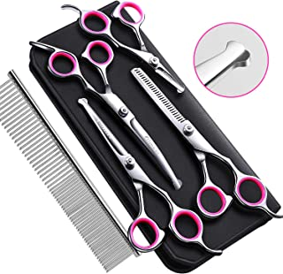 Gimars 4CR Stainless Steel Dog Grooming Scissors Kit with Safety Round Tip, Heavy Duty..