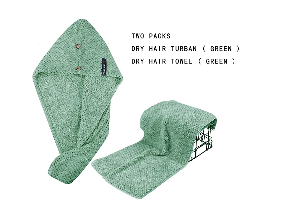 Happiness Soft Fast Hair Dry Towel, Microfiber Turban Wrap with Botton for Trip & Bath, Super Lightweight (Light Green)