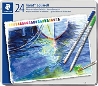 Staedtler Karat Aquarell, Crayons de couleur aquarellables de qualité professionnelle, Grande miscibilité des couleurs, Bo...