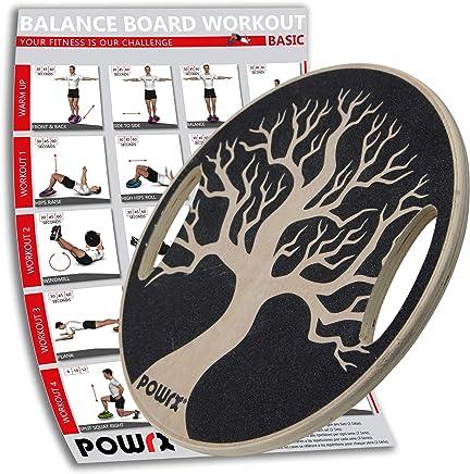 Workout I Balance Trainer aus Holz 45//50 cm I Therapiekreisel f/ür Propriozeptives Training und Physiotherapie POWRX Balance Board Wackelbrett inkl