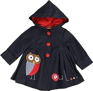 Maria Elena - Toddlers & Girls JAMIE'S OWL Patchwork Denim Swing Jacket Lined with Super Soft & Warm Fleece