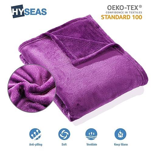 HYSEAS Couverture Douce en Microfibre, 180x220cm Violet, Chaude Au Toucher Velours pour Canapé Ou Lit, Anti-Arrugas Et Respirant