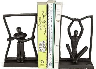 Danya B. ZI17048 Stretching Boundaries Iron Bookend Set – Decorative Modern Metal Sculpture Bookends