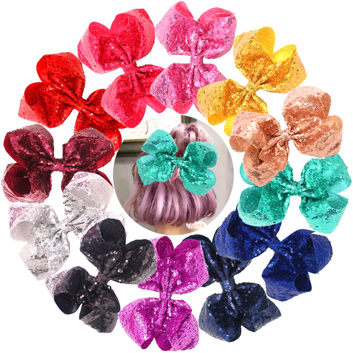 2021 new Bling Limited time cheap sale 8 Inch Big Sequins Hair Alligator Tod Clips Girls for Bows
