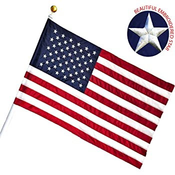 G128 - American USA US Flag 3x5 Ft Pole Sleeve Banner Style Embroidered Stars Sewn Stripes Pole Sleeve (Flag Pole is NOT Included)