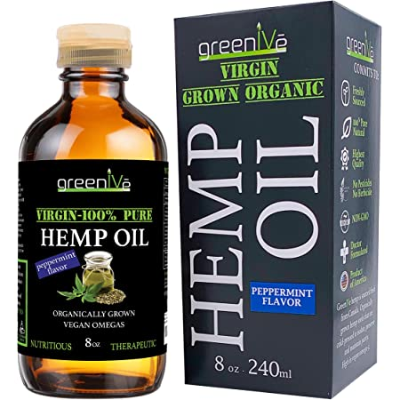 GreenIVe - Hemp Oil - Vegan Omegas - Cold Pressed - Exclusively on Amazon (8oz Peppermint)