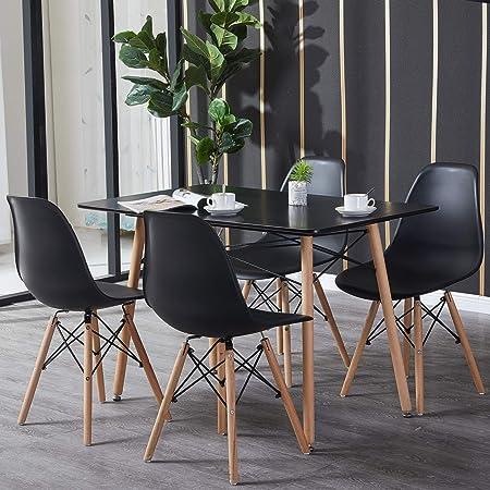 H.J WeDoo Table et Chaise Salle a Manger, Rectangulaire Table en MDF avec 4 Chaises Scandinave pour Mmaison, Bureau, Cuisine, Balcon(Noir)