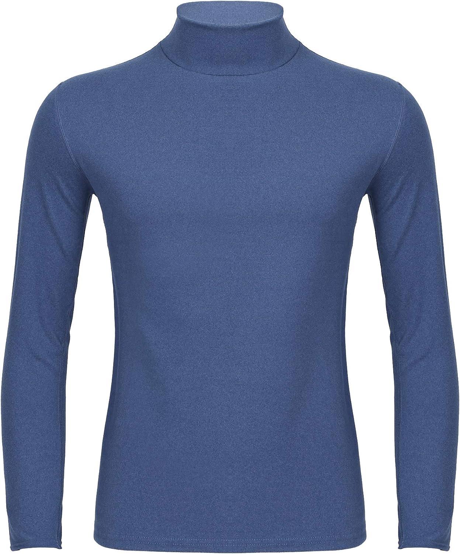 Freebily Thermal Underwear Tops for Men Turtleneck Long Sleeve K