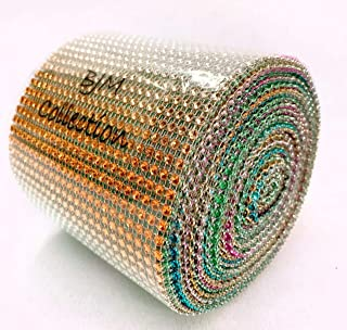 "BJM Collection 4.75"" X 10 Yards 24 Rows Rainbow Multi Color Diamond Rhinestone Mesh Wrap for Wedding, Party, and Events Decoration"