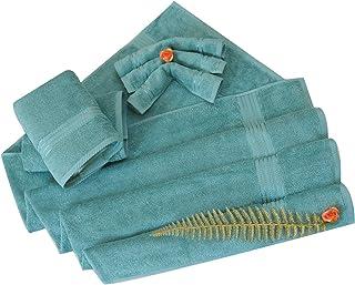 Divine Cotton Solid Pattern,Turquoise - Towels Set