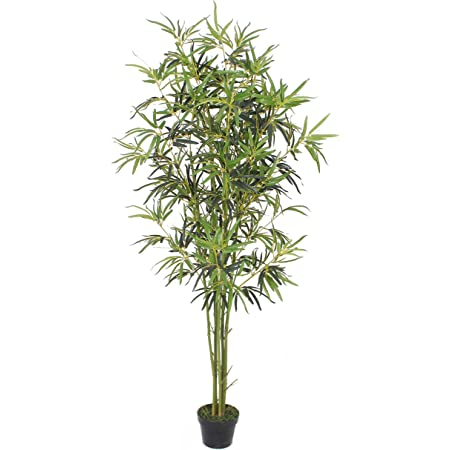 Goplus Fake Bamboo Tree Artificial Greenery Plants In Nursery Pot Decorative Trees For Home Office Lobby 6ft Green Trunk Home Kitchen