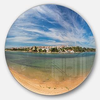 Designart MT11044-C11 Portuguese Maritime Village Panorama Seashore Disc Metal Wall Art - Disc of 11,Blue,11 X 11