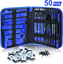 AUTOXEL 88 Pcs Trim Removal Tool,Auto Push Pin Bumper Retainer Clip Set Fastener Terminal Remover Tool Adhesive Cable Clips Pry Kit Car Panel Radio Removal Auto Clip Pliers Blue