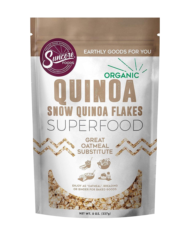 Suncore Foods - Organic Quinoa Flakes, 8oz bag, Gluten Free and Non-GMO, Quinoa Seeds, Superfood