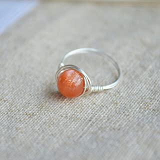 Sunstone Gemstone Natural Stone Birthstone Solitaire 925 Sterling Silver Wire Wrapped Rings