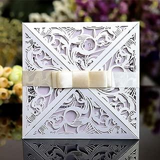 CJJC Invitaciones de Boda Hechas a Mano Personalizadas + Tarjeta en Blanco + Sobres + Bowknot para Las Vacaciones de la Fiesta de Compromiso matrimonial, Paquete de 50