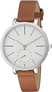 Skagen Denmark Women's Hagen Watch in Silvertone with Brown Leather Strap