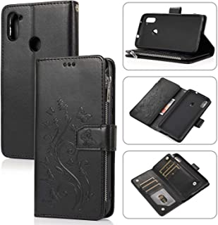 Mylne Zipper Case for Samsung Galaxy A11/M11,Magnetic Closure Wallet Pocket Kickstand Card Holder Folio Butterfly Flower E...