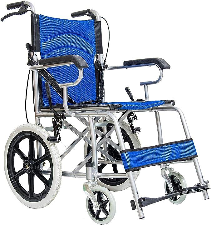 Carrozzina pieghevole per disabili sedia a rotelle a spinta assistita con leva freno eglemtek 30142