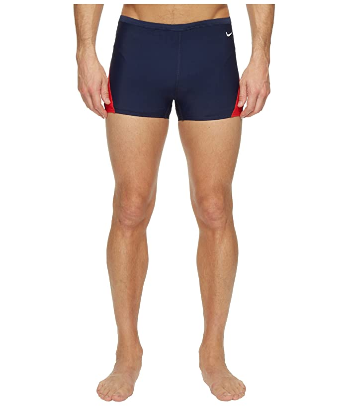 Nike Surge Color Block Poly Square Leg Brief (Red/Navy) Men