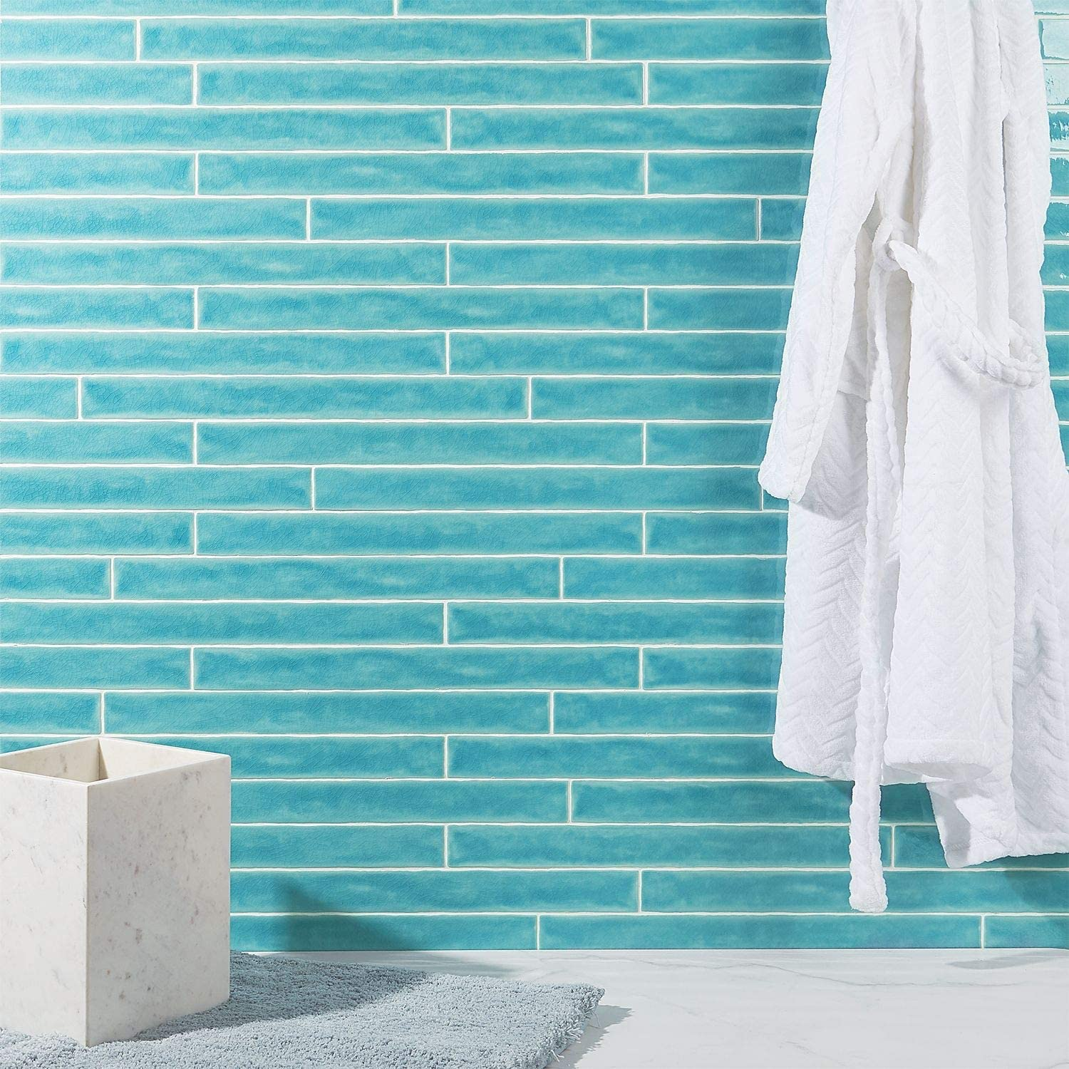 Polished Ceramic Wall Tile 20 Pieces 5.38 Sq. Ft. // Case Nantucket Blue 2 in x 20 in